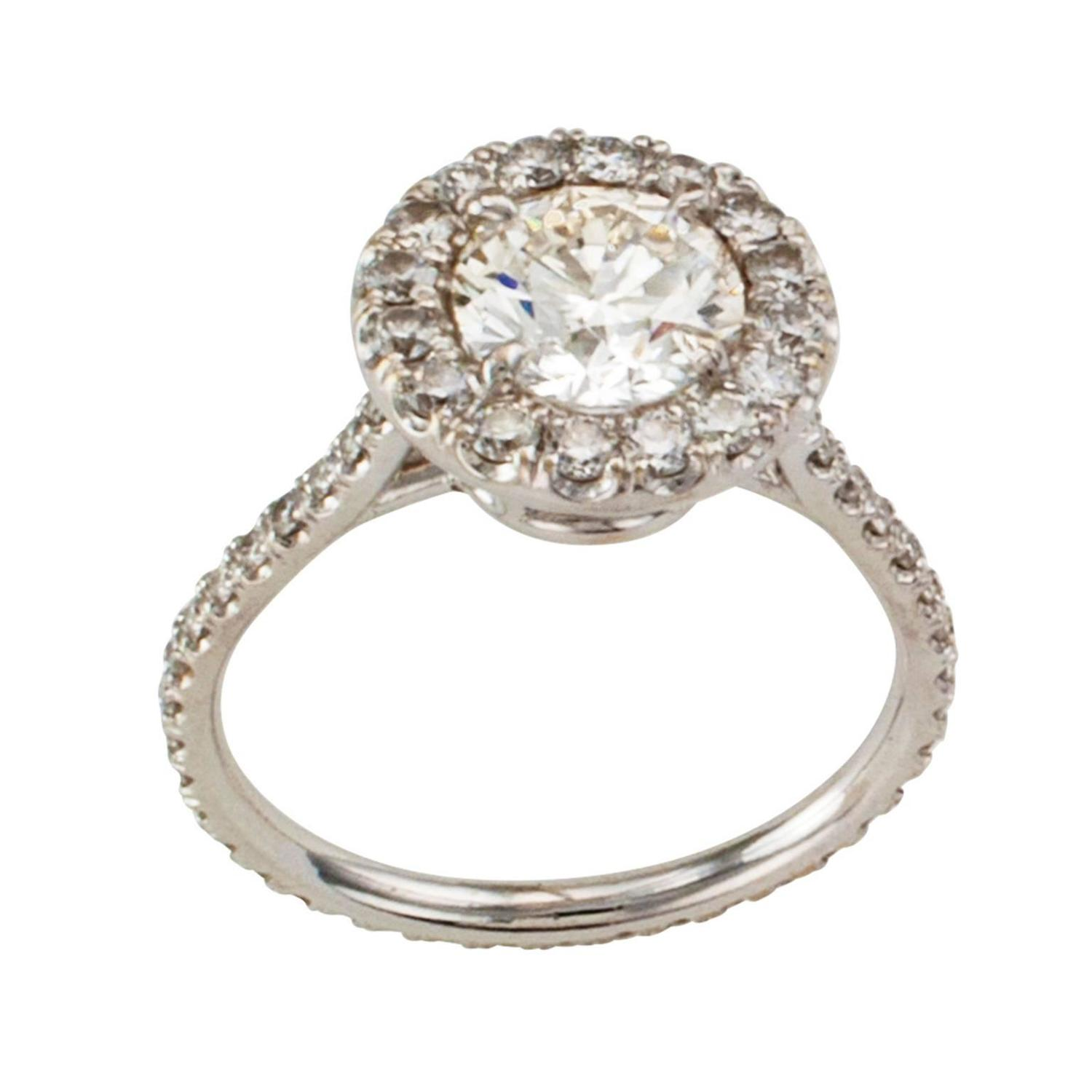 Diamond Halo Engagement Ring For Sale At 1stdibs