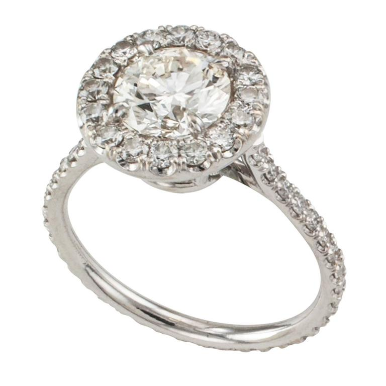 Diamond Halo Engagement Ring In Excellent Condition For Sale In Los Angeles, CA