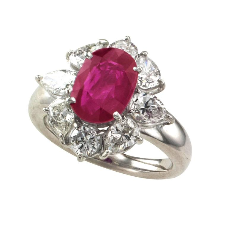 Contemporary 2.23 Carat Burma Ruby Diamond Platinum Cluster Ring For Sale