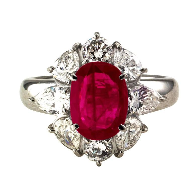 Women's or Men's 2.23 Carat Burma Ruby Diamond Platinum Cluster Ring For Sale