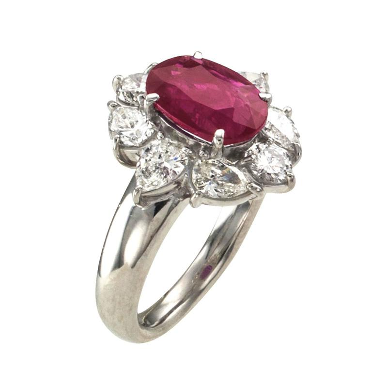 2.23 Carat Burma Ruby Diamond Platinum Cluster Ring In Excellent Condition For Sale In Los Angeles, CA