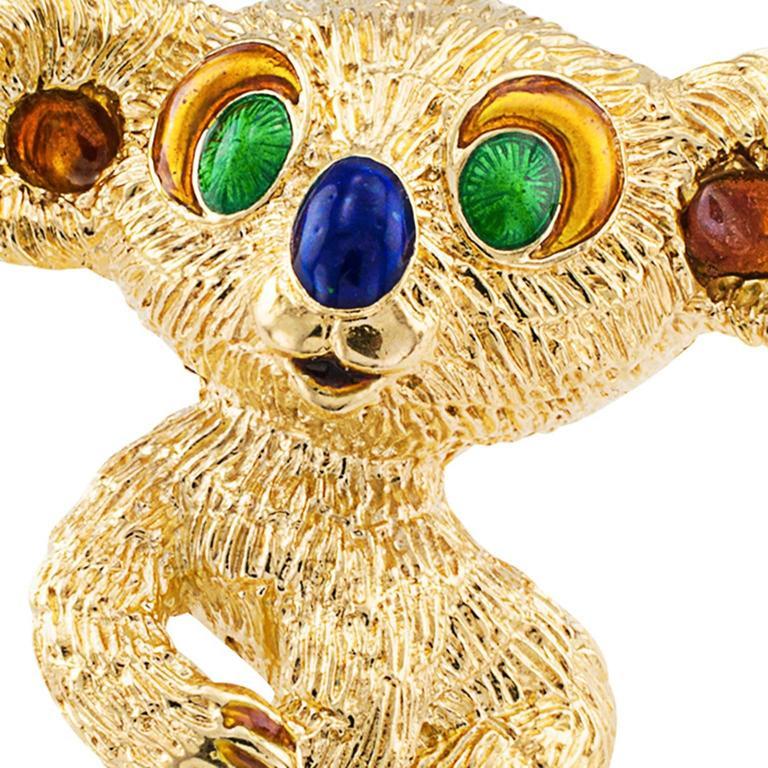 Modern 1960s Kutchinsky Enamel Gold Koala Bear Brooch For Sale