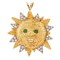 Sunshine Emerald Diamond Gold Brooch