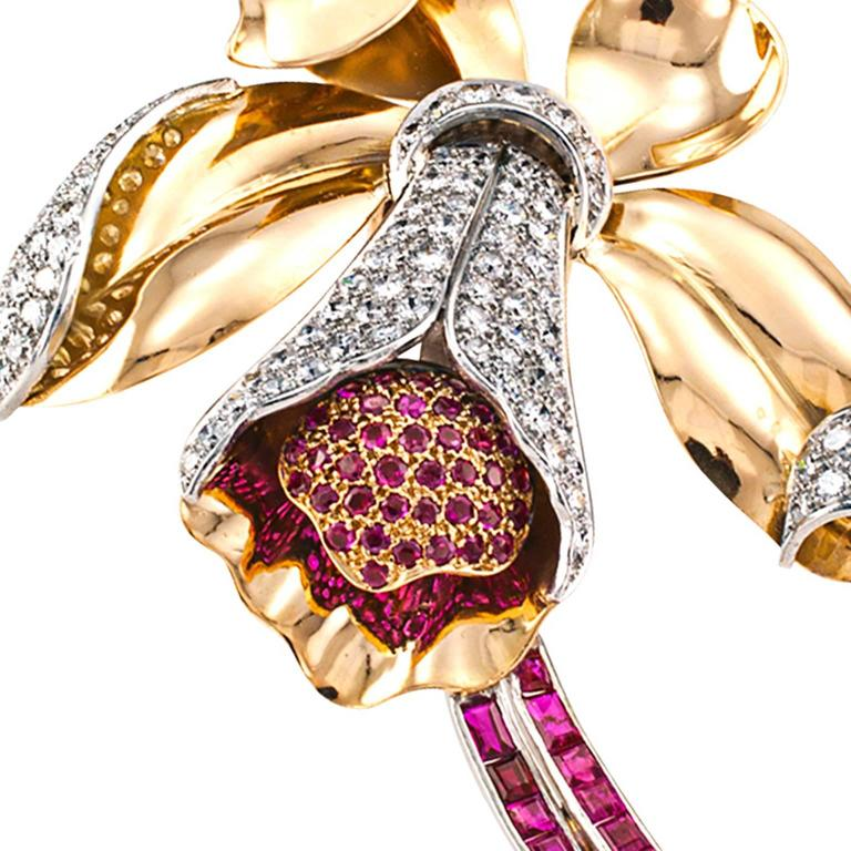Retro Orchid Ruby and Diamond Brooch In Excellent Condition For Sale In Los Angeles, CA
