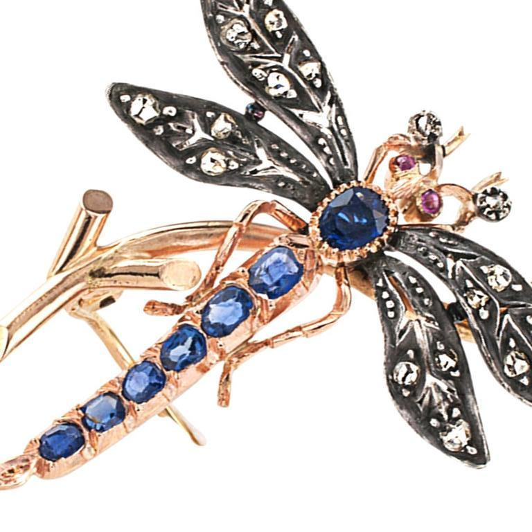 Women's or Men's Victorian Ruby Sapphire Diamond Silver Gold Dragonfly Brooch For Sale