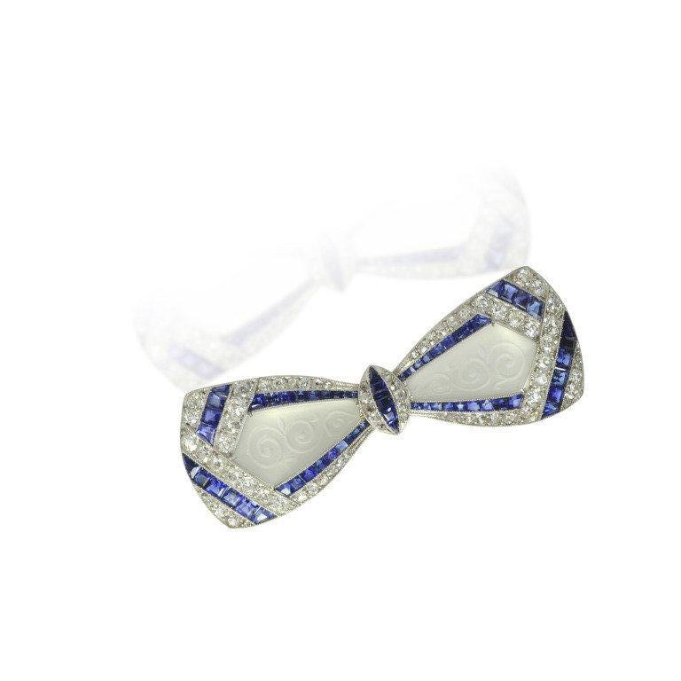 Women's Jackie Kennedy's Art Deco Diamond Sapphire Frosted Crystal Bow Brooch For Sale