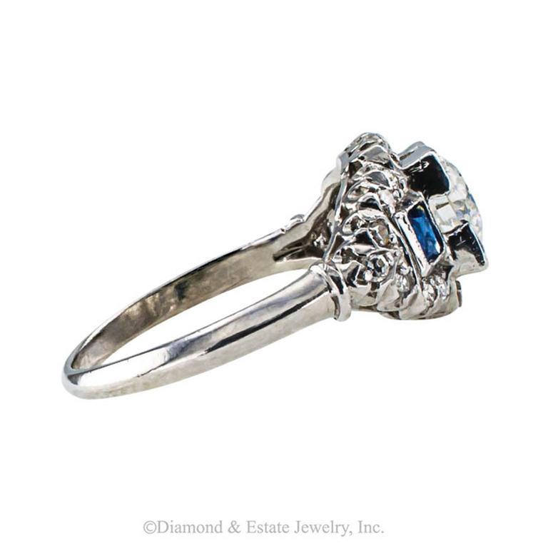 Art Deco Sapphire Diamond Platinum Engagement Ring 4