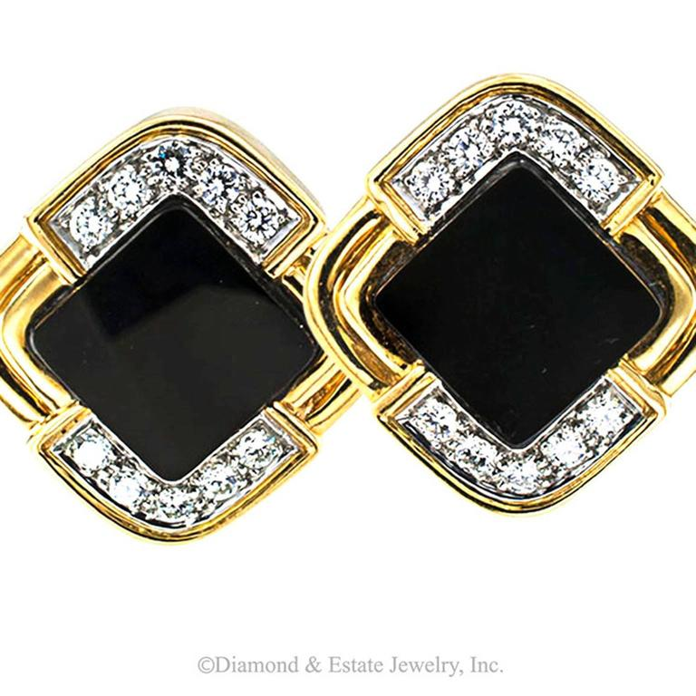 Onyx Diamond Gold Contemporary Earrings In Excellent Condition For Sale In Los Angeles, CA