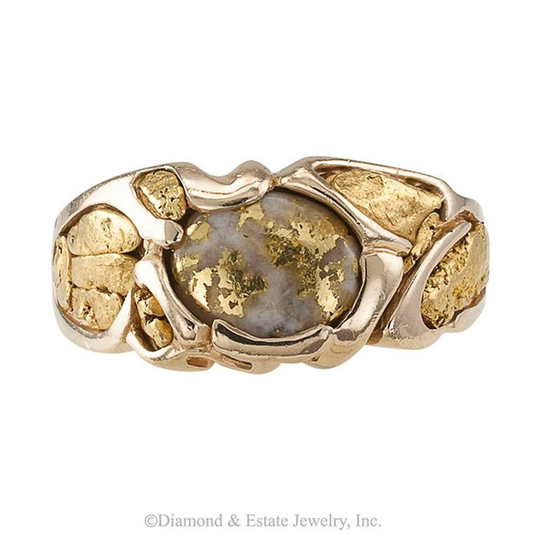 Gold Quartz and Gold Nugget Ring 1