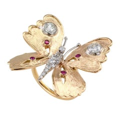 1970s Butterfly Diamond Ruby Gold Ring