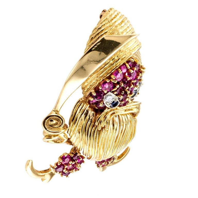 1960s Pirate Ruby Diamond Sapphire Gold Brooch For Sale 1