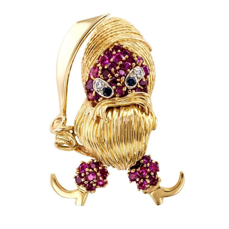 1960s Pirate Ruby Diamond Sapphire Gold Brooch