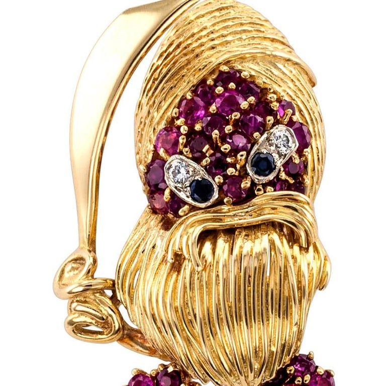 Women's or Men's 1960s Pirate Ruby Diamond Sapphire Gold Brooch For Sale