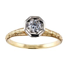 C D Peacock Edwardian Diamond Solitaire Engagement Ring