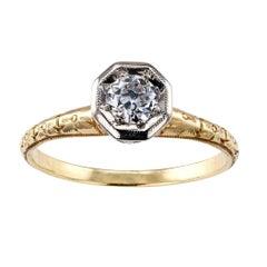 C D Peacock Edwardian Diamond Solitaire Engagement Ring