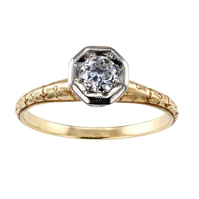 C D Peacock Edwardian Diamond Solitaire Engagement Ring For Sale