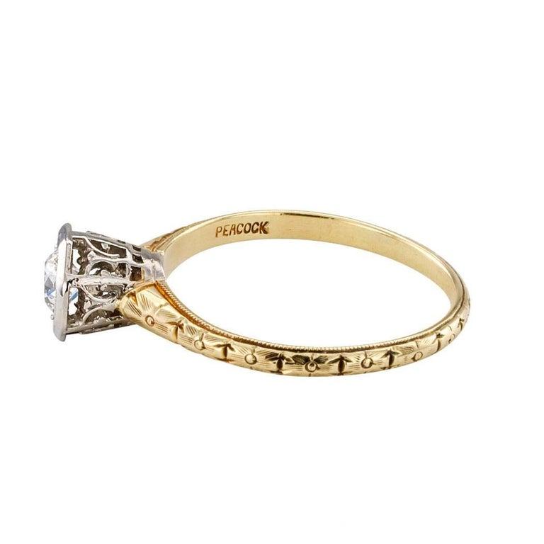 Women's C D Peacock Edwardian Diamond Solitaire Engagement Ring For Sale