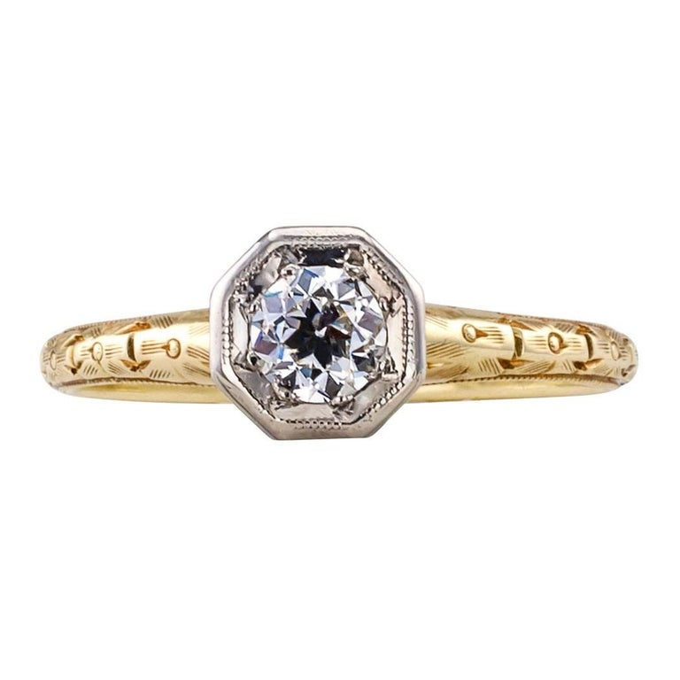 C D Peacock Edwardian Diamond Solitaire Engagement Ring In Excellent Condition For Sale In Los Angeles, CA