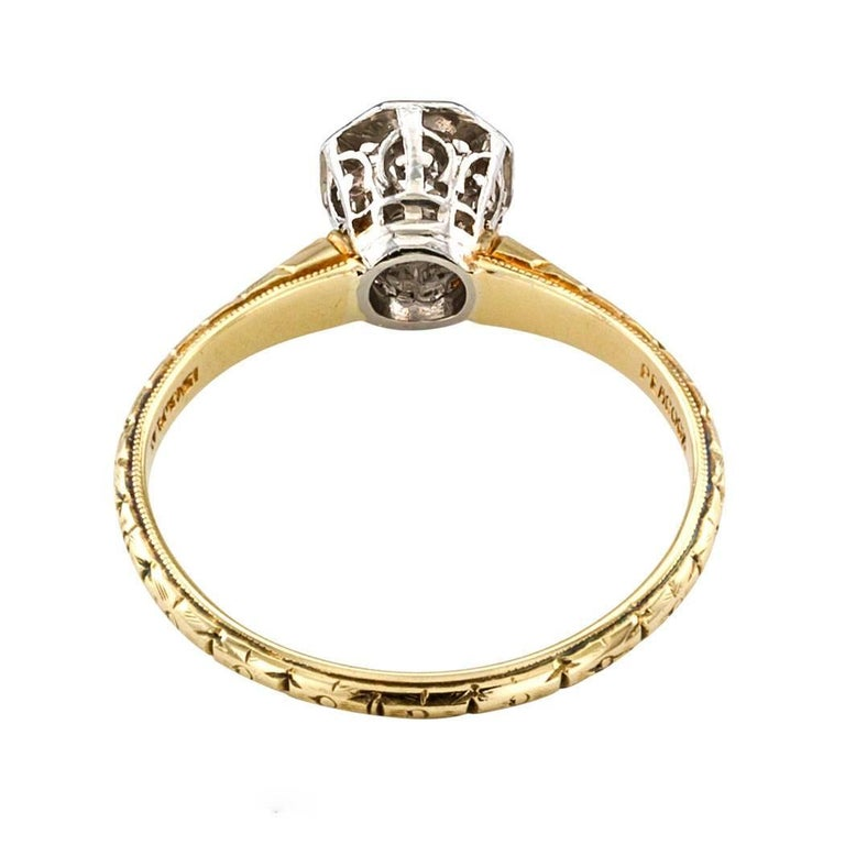 C D Peacock Edwardian Diamond Solitaire Engagement Ring For Sale 2