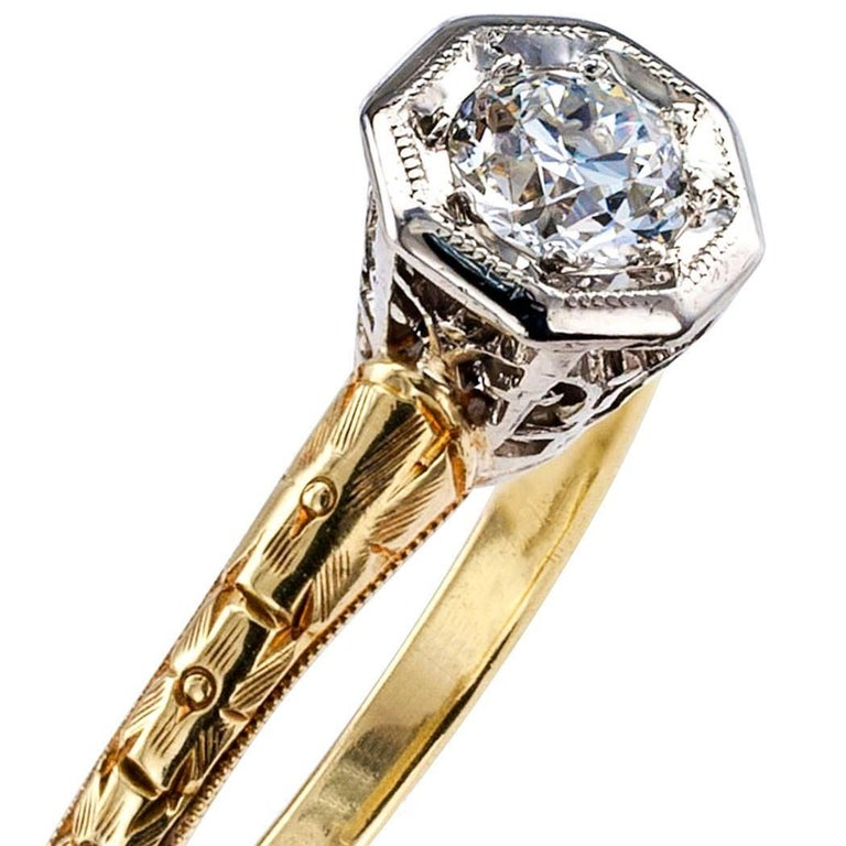 Round Cut C D Peacock Edwardian Diamond Solitaire Engagement Ring For Sale