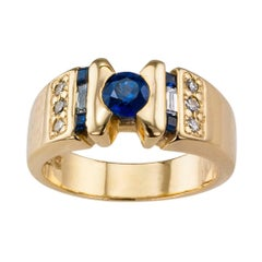 1970s Sapphire Diamond Gold Ring Band
