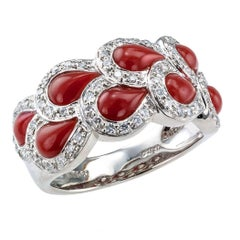 Red Coral Diamond Platinum Ring Band