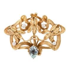 Art Nouveau Iris Aquamarine Seed Pearl Gold Brooch