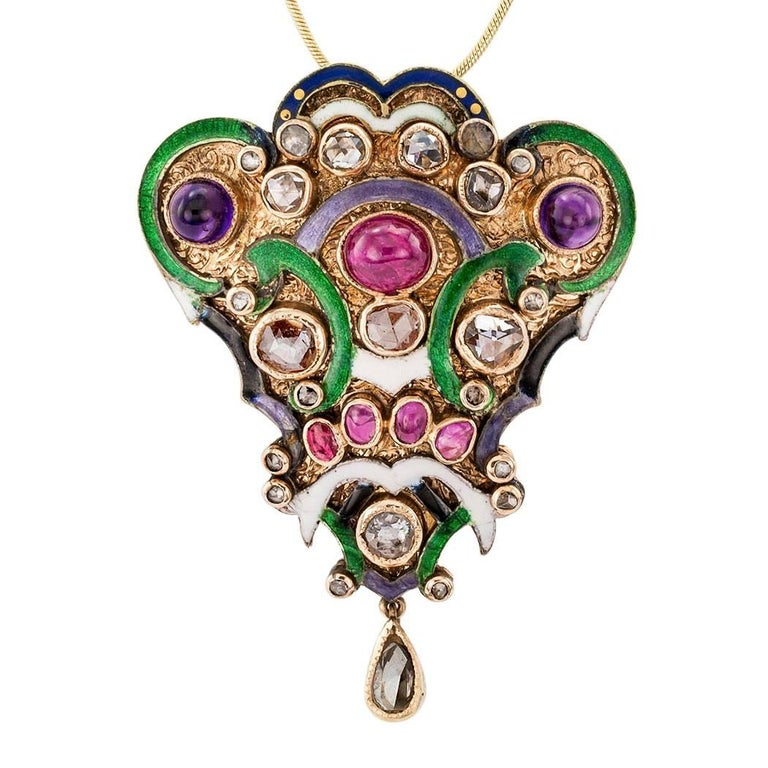 Victorian Diamond Amethyst Ruby Enamel Gold Silver Brooch Pendant For Sale