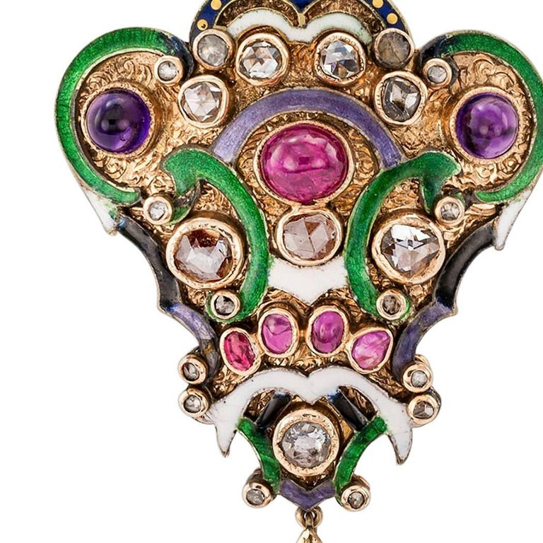 Victorian Diamond Amethyst Ruby Enamel Gold Silver Brooch Pendant In Good Condition For Sale In Los Angeles, CA