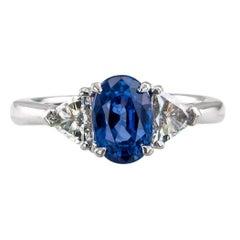 Sapphire Diamond Three-Stone Platinum Ring