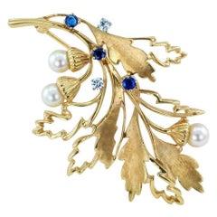 Oak Leaf Diamond Sapphire Pearl Gold Brooch