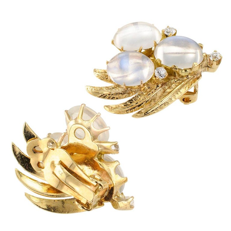 Women's 1950s Moonstone Diamond Gold Earclips For Sale