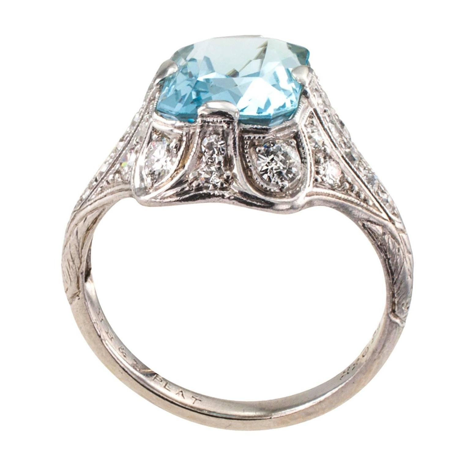 bailey banks and biddle art deco aquamarine diamond