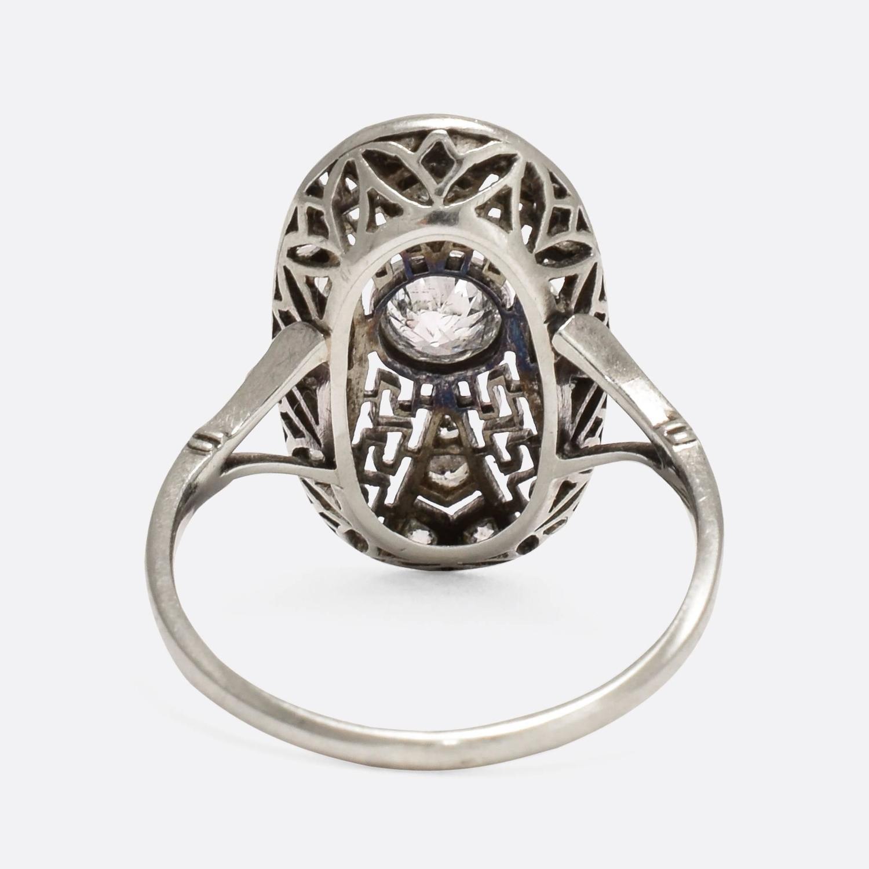 Art Deco Greek Key Diamond Cluster Ring At 1stdibs