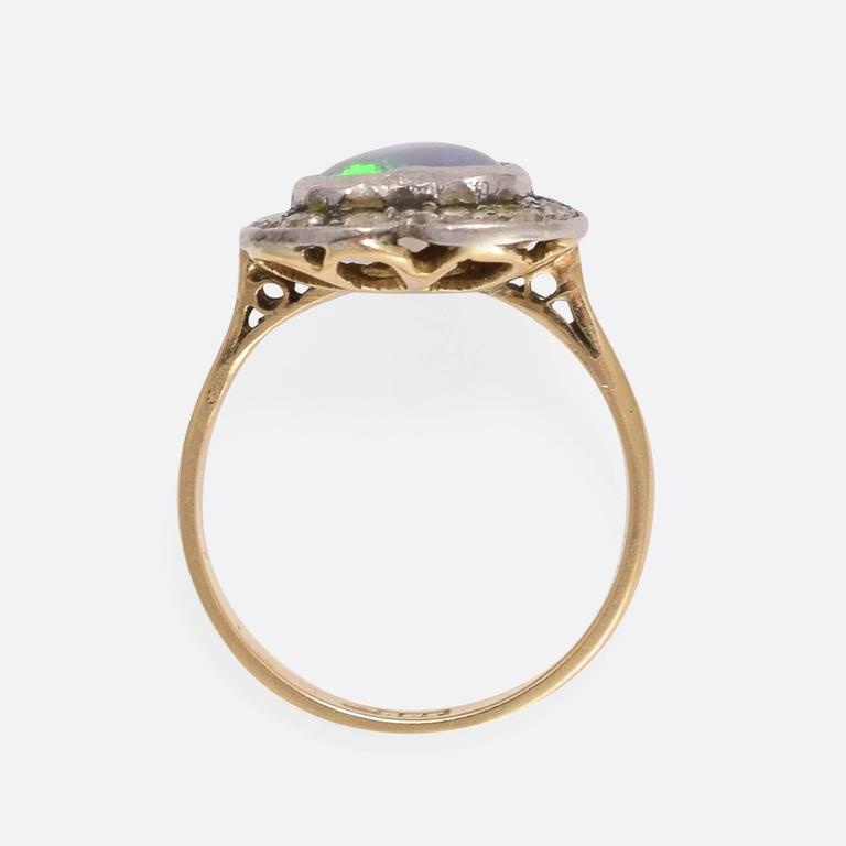 Women's or Men's Victorian Opal Diamond Heart Ring For Sale