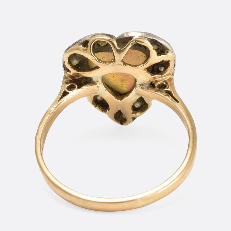 Victorian Opal Diamond Heart Ring In Good Condition For Sale In Sale, Cheshire