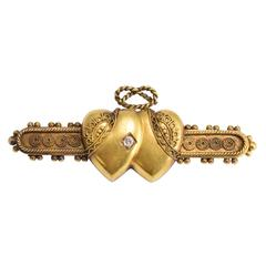 Victorian Diamond Double Heart Brooch