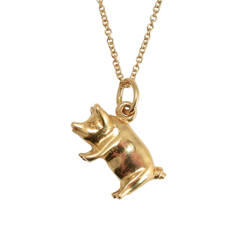 vintage gold lucky pig pendant at 1stdibs