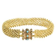 Georgian Turquoise Gold Mesh Bracelet