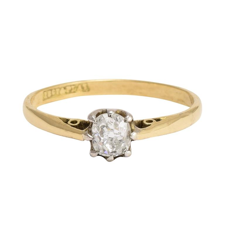 Victorian Cushion Cut Diamond Solitaire Ring at 1stdibs