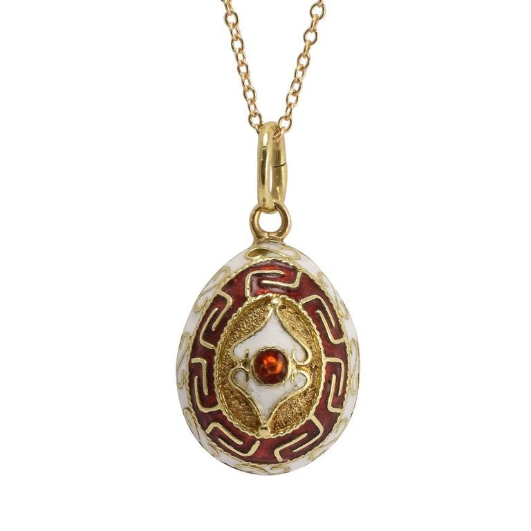 deco russian enamelled miniature egg pendant at 1stdibs