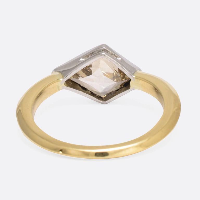 1.91 Carat Fancy Light Brown Kite Diamond Gold Ring 4