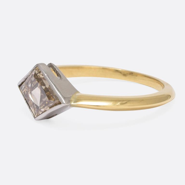 1.91 Carat Fancy Light Brown Kite Diamond Gold Ring In As New Condition For Sale In Sale, Cheshire