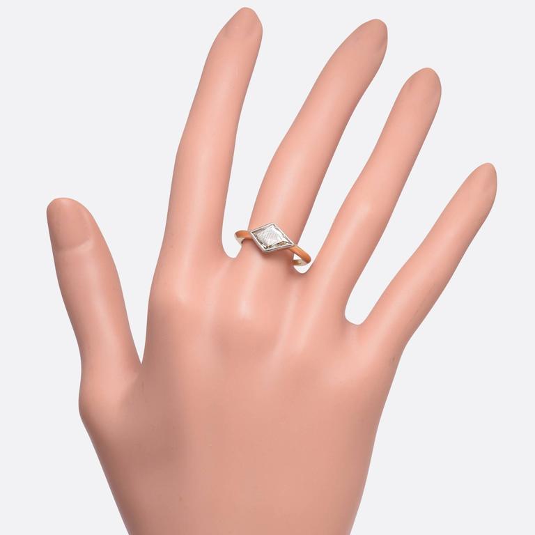 1.91 Carat Fancy Light Brown Kite Diamond Gold Ring 6