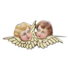 "Art Nouveau ""Winged Cherubs"" Brooch"