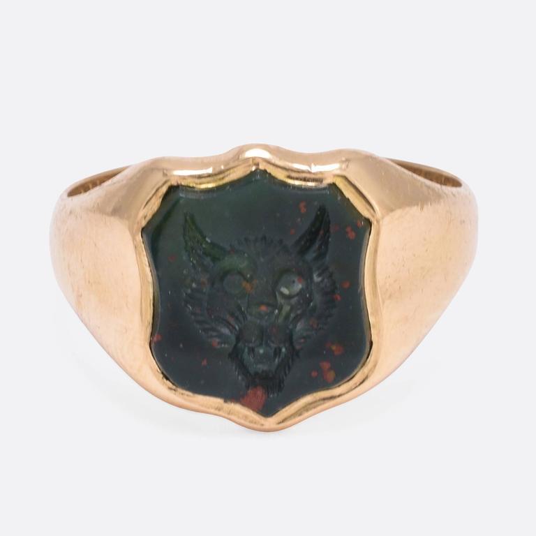 Victorian Bloodstone Wolf Intaglio Signet Ring At 1stdibs