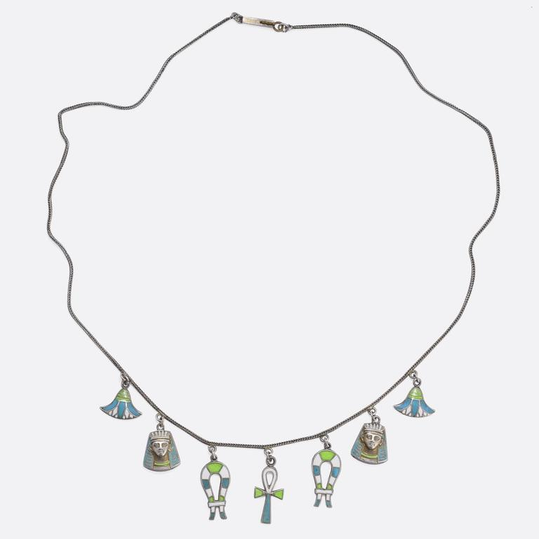 1930s Egyptian Revival Enamelled Necklace 3