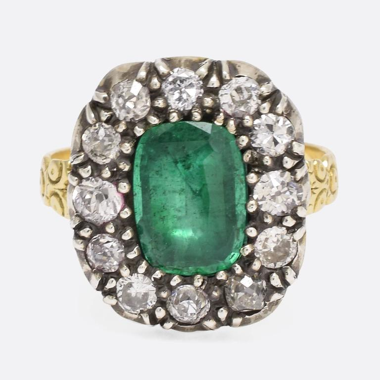 antique georgian emerald cluster ring for sale at