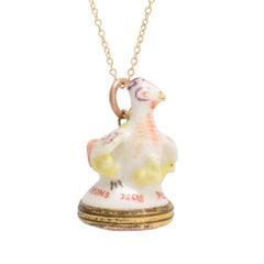 "18th Century Derby Chelsea ""Mother Hen"" Porcelain Fob Pendant"