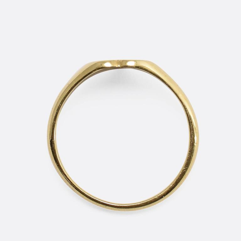 Art Deco Key To My Heart Gold Signet Ring At 1stdibs